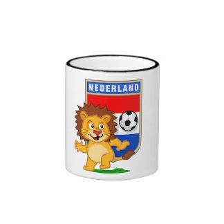 León holandés del fútbol taza de dos colores
