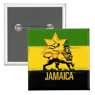 León jamaicano del botón de Judah Pin Cuadrado