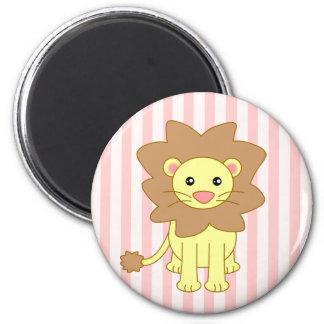 León lindo del dibujo animado imán redondo 5 cm