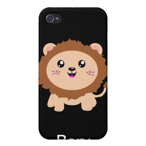 León lindo del dibujo animado iPhone 4 fundas