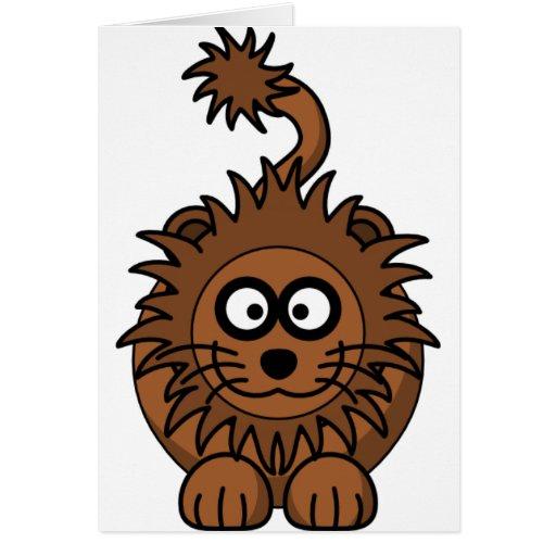 León lindo del dibujo animado tarjeta de felicitación