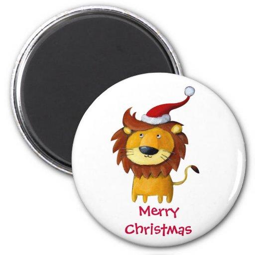 León lindo del navidad imanes de nevera