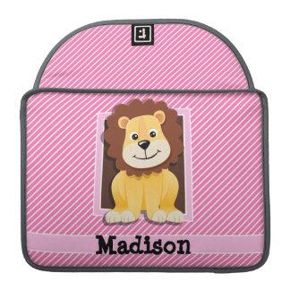 León lindo en rayas rosadas y blancas funda para macbooks