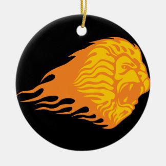 León llameante #1 ornamento para arbol de navidad