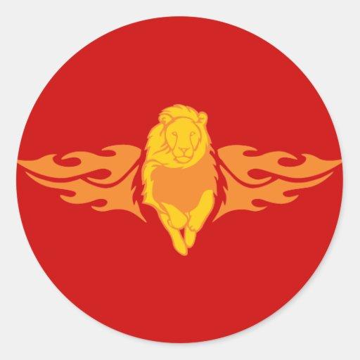 León llameante #4 pegatina redonda