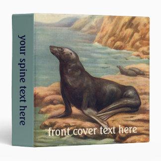 León marino del mamífero marino del vintage por la carpeta 3,8 cm