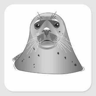 León marino gris pegatinas cuadradas