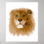 león masculino bonito con los ojos azules poster