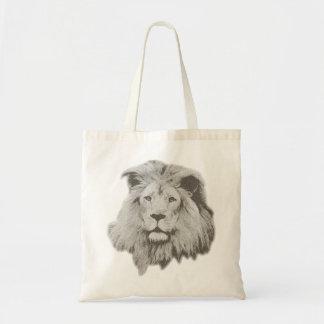 León masculino en blanco y negro bolsa tela barata