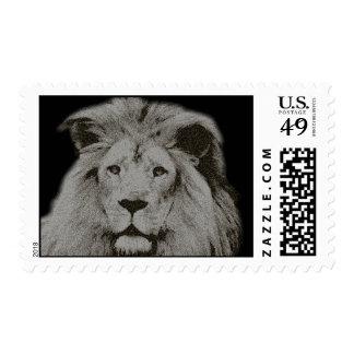 León masculino en blanco y negro timbre postal