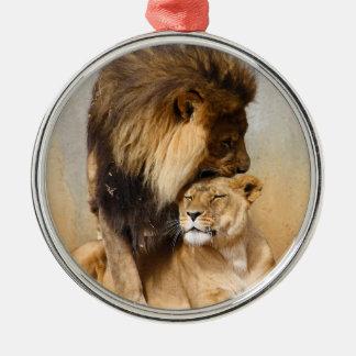 León masculino y femenino en amor ornamento para arbol de navidad