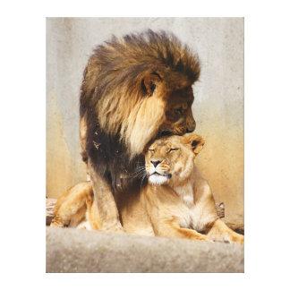 León masculino y femenino en amor impresión en lienzo estirada
