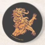 León medieval del oro en negro posavasos personalizados