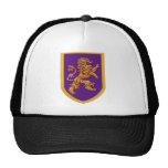 León medieval en el escudo púrpura gorras de camionero