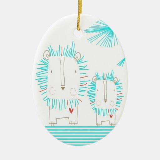 León minimalista - aguamarina y blanco adorno ovalado de cerámica