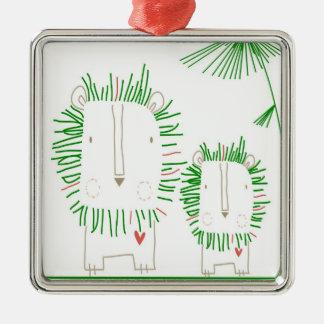 León minimalista - verde adorno navideño cuadrado de metal