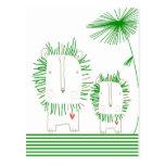 León minimalista - verde postal