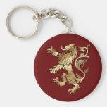 León muy fresco del estilo del escudo de armas par llavero personalizado