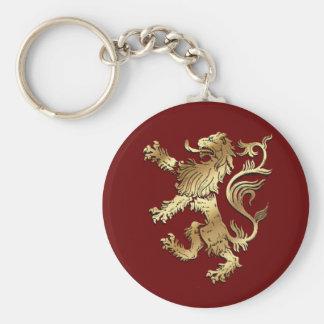 León muy fresco del estilo del escudo de armas par llavero redondo tipo pin