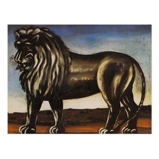 León negro de Niko Pirosmani Postal