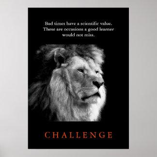 León negro del desafío y blanco inspirado póster