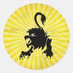 León negro; Leo Pegatinas Redondas