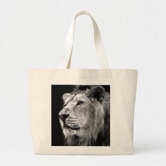 León negro y blanco bolsa tela grande