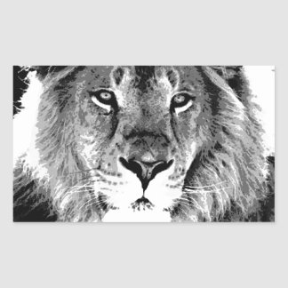 León negro y blanco pegatina rectangular