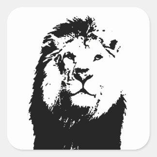 León negro y blanco pegatina cuadrada