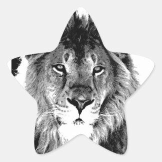 León negro y blanco pegatina en forma de estrella