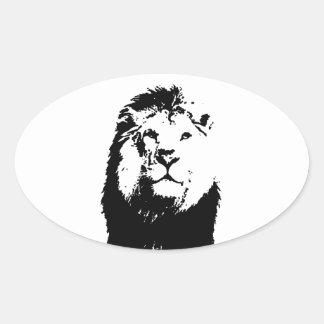 León negro y blanco pegatina ovalada