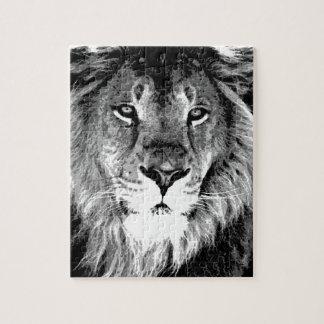 León negro y blanco rompecabezas con fotos
