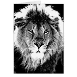 León negro y blanco tarjeta de felicitación