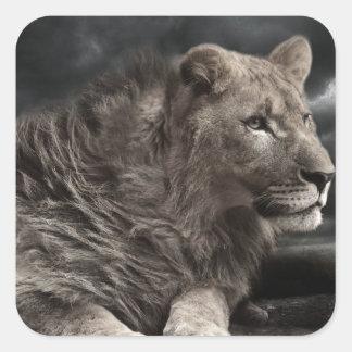León Calcomania Cuadrada Personalizada