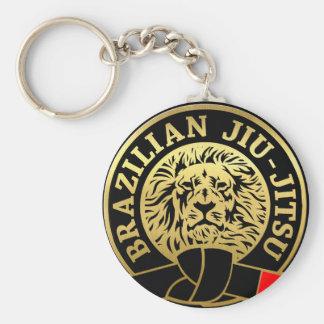 León plateado oro de Jiu Jitsu del brasilen@o Llavero Redondo Tipo Pin