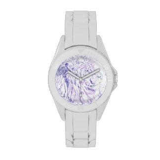 León púrpura - reloj deportivo blanco