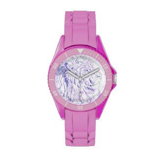 León púrpura - reloj deportivo rosado