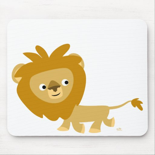 León que camina Mousepad del dibujo animado lindo Alfombrillas De Ratón