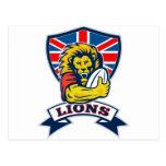 León que juega a rugbi con el escudo de Union Jack Postales