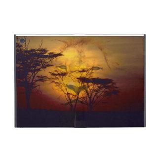 León que mira sobre puesta del sol africana iPad mini cobertura