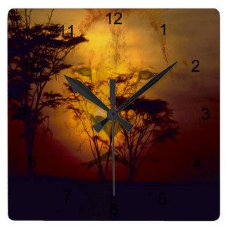 León que mira sobre puesta del sol africana reloj cuadrado