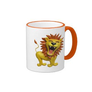 León que ruge taza de café
