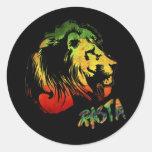 león rasta pegatina redonda