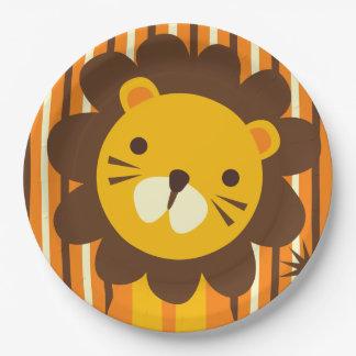 León retro en la placa de papel de las rayas platos de papel