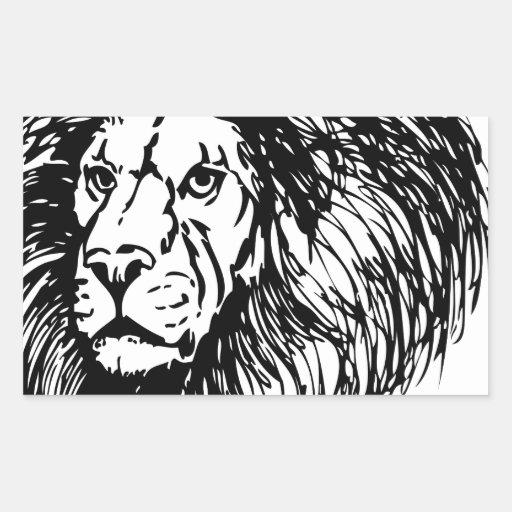león - rey de la selva rectangular pegatinas
