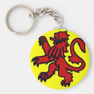 León rojo de Escocia Llavero Redondo Tipo Pin