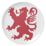 León rojo de la placa de la heráldica plato