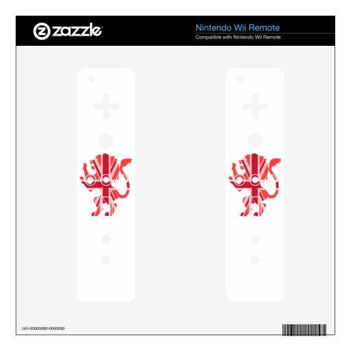 León rojo de Union Jack Skin Para El Mando Wii