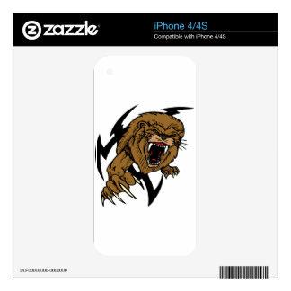 León salvaje y de Brown que ruge Skin Para El iPhone 4S