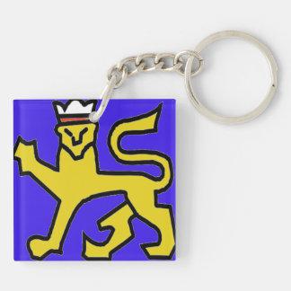 León simplista con el fondo azul llavero cuadrado acrílico a doble cara